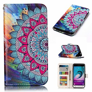 cheap Samsung Case-Case For Samsung Galaxy J3 (2016) Wallet / Card Holder / Flip Full Body Cases Flower Hard PU Leather
