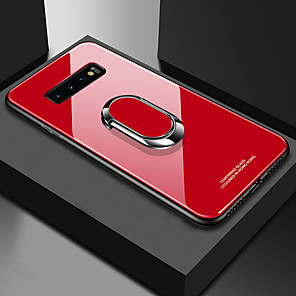 cheap Samsung Case-Case For Samsung Galaxy S9 / S9 Plus / S8 Plus Shockproof / with Stand / Ring Holder Back Cover Solid Colored Hard TPU / Tempered Glass