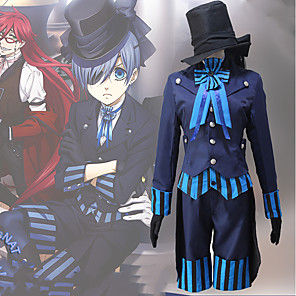 cheap Anime Costumes-Inspired by Black Butler Ciel Phantomhive Anime Cosplay Costumes Japanese Cosplay Suits Contemporary Cravat Coat Blouse For Men's Women's / Top / Gloves / More Accessories / Top / Gloves