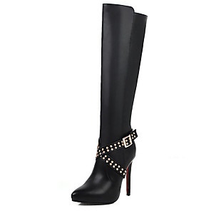 cheap Women's Boots-Women's Boots Knee High Boots Stiletto Heel Pointed Toe Rivet PU Knee High Boots Minimalism Winter Black