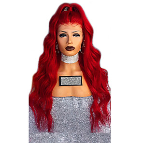 cheap Synthetic Lace Wigs-Synthetic Lace Front Wig Straight Free Part Lace Front Wig Long Red Synthetic Hair 26 inch Women's Adjustable Heat Resistant Classic Red