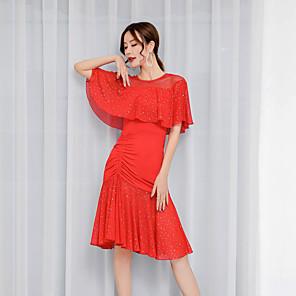 cheap Latin Dancewear-Latin Dance Dress Ruching Women's Performance Short Sleeve Tulle Milk Fiber