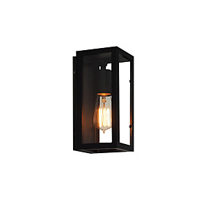 cheap Outdoor Wall Lights-American Vintage Rectangular Wall Light Fixture Industrial Retro Wall Lamp Metal Box Glass Shade Black Finish Wall Sconce for Bar Hallway Warehouse