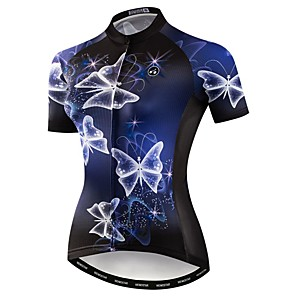 cheap Cycling Jerseys-21Grams Women's Short Sleeve Cycling Jersey Polyester Elastane Blue Butterfly Bike Jersey Top Mountain Bike MTB Road Bike Cycling Breathable Quick Dry Moisture Wicking Sports Clothing Apparel