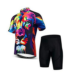 cheap Cycling Jersey & Shorts / Pants Sets-21Grams 3D Animal Tiger Men's Short Sleeve Cycling Jersey with Shorts - Black / Red Bike Clothing Suit Breathable Moisture Wicking Quick Dry Sports Elastane Terylene Mountain Bike MTB Road Bike