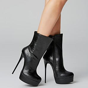 cheap Women's Heels-Women's PU(Polyurethane) Fall & Winter Casual Heels Stiletto Heel Mid-Calf Boots Blue / Pink / Almond