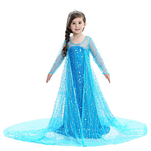 cheap Wedding Shoes-Princess Elsa Dress Flower Girl Dress Girls' Movie Cosplay A-Line Slip Pattern Dress Pink / Blue / White Dress Children's Day Masquerade Sequin Cotton Voile