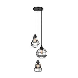 cheap Cluster Design-3-Light Ceiling Light Flush Mount Round Oil Rubbed Black Finish Pendant Light Cage Cluster Pendant Lamp3 Lights Chandeliers Pendant Light Fixtures for Bar