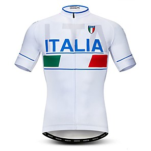cheap Cycling Jerseys-21Grams Men's Short Sleeve Cycling Jersey Polyester Elastane Lycra White Italy National Flag Bike Jersey Top Mountain Bike MTB Road Bike Cycling Breathable Quick Dry Moisture Wicking Sports Clothing