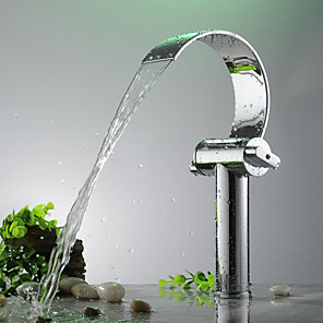 cheap Bathroom Sink Faucets-Bathroom Sink Faucet - Waterfall Electroplated Free Standing Two Handles One HoleBath Taps