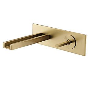 cheap Bathroom Sink Faucets-Bathroom Sink Faucet - Waterfall Brushed Gold Wall Mounted Single Handle Two HolesBath Taps