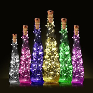 cheap LED Strip Lights-1PC 2m 20 LED Cork Shaped LED Night Starry Light Copper Wire Stopper Wine Bottle Lamp Decoration Cool Warm White Colorful