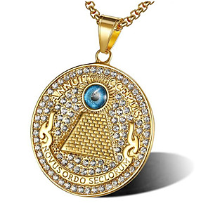 cheap Pendant Necklaces-Men's Cubic Zirconia Pendant Necklace Classic Star of David Fashion Titanium Steel Gold 56 cm Necklace Jewelry 1pc For Gift Daily