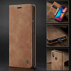 cheap Samsung Case-Case For Samsung Galaxy Galaxy A20e Wallet / Card Holder / Shockproof Full Body Cases Solid Colored Hard PU Leather / Ultra-thin