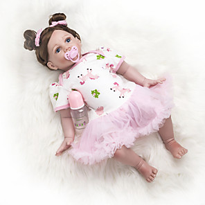 cheap Reborn Doll-24 inch Reborn Doll Baby Girl Kids / Teen Full Body Silicone with Clothes and Accessories for Girls' Birthday and Festival Gifts