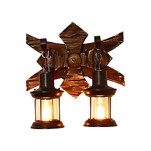 cheap Indoor Wall Lights-Rustic Wall Sconce Wooden Wall Lighting Fixture Retro Vintage / Rustic / Lodge Flush Mount wall Lights Shops / Cafes / Study Room / Office / Bar
