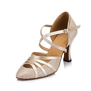 povoljno Obuća za dvoranski ples i moderne plesove-Žene Plesne cipele Moderna obuća Standardni Štikle S resicama Debela peta Moguće personalizirati Crn / Bež / Srebro / Seksi blagdanski kostimi