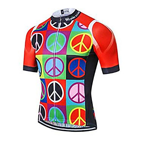 cheap Cycling Jerseys-21Grams Rainbow Men's Short Sleeve Cycling Jersey - Black / Red Bike Jersey Top Breathable Quick Dry Moisture Wicking Sports Elastane Terylene Polyester Taffeta Mountain Bike MTB Road Bike Cycling