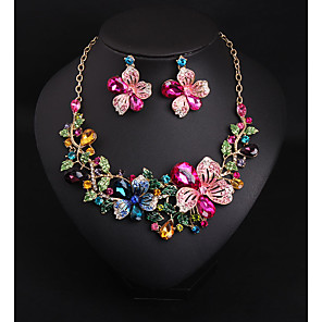 cheap Earrings-Women's Crystal Bridal Jewelry Sets Chandelier Flower Love Statement Elegant Rhinestone Earrings Jewelry Rose Red For Wedding Party 1 set