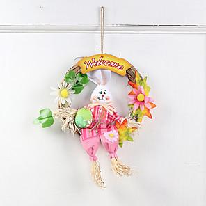cheap Christmas Decorations-Kids Cartoon Rabbit Wreath Hanger for Easter Party Door Decor