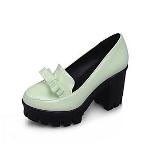 cheap Women's Heels-Women's Heels Chunky Heel Round Toe Bowknot PU(Polyurethane) Spring &  Fall White / Black / Blue