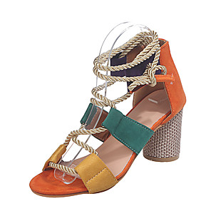 cheap Women's Sandals-Women's Sandals Boho / Beach Spring &  Fall Chunky Heel Peep Toe Daily Buckle Color Block PU Orange / Black / White / Purple