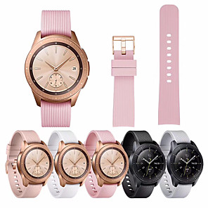 cheap Smartwatch Bands-20mm Silicone Band for Samsung Galaxy Watch 42mm Rubber Replacement Bracelet WatchBand Strap for Galaxy Watch 42mm Gold Buckle
