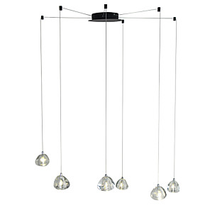 cheap Cluster Design-6-Light Modern Chandelier 6 Lights Hanging Lamp Dropping Pendant Ceiling Fixture Crystal G4 Led Bulbs Included for Dinning Living Office Cafe Room