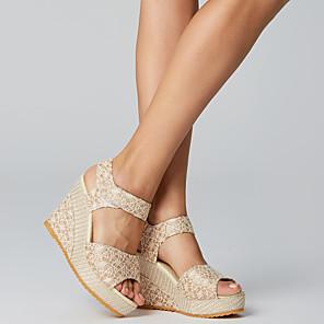 cheap Women's Sandals-Women's Sandals Wedge Sandals Winter Wedge Heel Comfort Daily Mesh Black / Beige / EU39