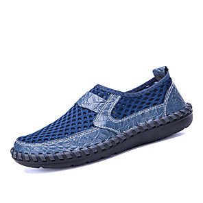 cheap Men's Slip-ons & Loafers-Men's Mesh / Cowhide Fall / Spring & Summer Casual / British Loafers & Slip-Ons Breathable Green / Blue / Brown