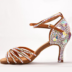 cheap Latin Dancewear-Women's Latin Shoes Heel Flared Heel Satin Buckle Crystal / Rhinestone Crystals White / Black / Red / Performance
