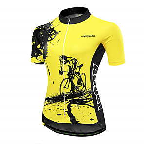cheap Cycling Jerseys-21Grams Gear Women's Short Sleeve Cycling Jersey - Black Yellow Bike Jersey Top Breathable Quick Dry Moisture Wicking Sports Terylene Mountain Bike MTB Clothing Apparel / Micro-elastic / Race Fit