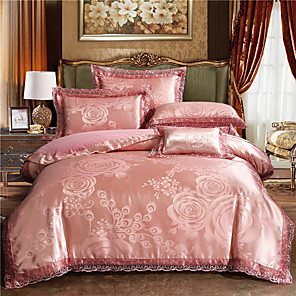 cheap Solid Duvet Covers-Luxury Bedding Sets Pink Rose Duvet Cover Sets 4 Piece Satin Embroidery Duvet Cover Set Luxury European Neoclassical Style (1 Duvet Cover, 1 Flat Sheet, 2 Shams)