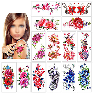 cheap Tattoo Stickers-12 pcs Temporary Tattoos Water Resistant / Best Quality Face / brachium / Shoulder Tattoo Stickers
