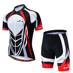 cheap Men's Cycling Jersey & Shorts / Pants Sets-EVERVOLVE Men's Short Sleeve Cycling Jersey with Shorts Summer Lycra Red+Black Bike Clothing Suit Anatomic Design Quick Dry Moisture Wicking Breathable Back Pocket Sports Patterned Mountain Bike MTB