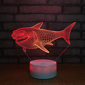 cheap 3D Night Lights-Cool Shark 3D LED Color Night Light USB Remote Control Desk Lamp Home Kid Toys Multicolor Gift