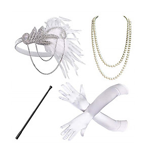 cheap Costumes Jewelry-Headbands Pearl Necklace Outfits 1920s Alloy For The Great Gatsby Cosplay Women's Costume Jewelry Fashion Jewelry / Gloves / Gloves