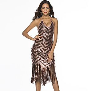 cheap Historical & Vintage Costumes-Diva Disco 1980s Fringed Dress Dress Women's Sequins Tassel Costume Brown / Red Vintage Cosplay Prom Sleeveless Above Knee A-Line
