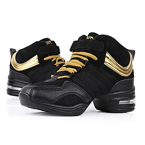 cheap Dance Sneakers-Women's Dance Shoes Mesh Dance Sneakers Splicing Sneaker Flat Heel Customizable Black / Gold / Performance / Practice