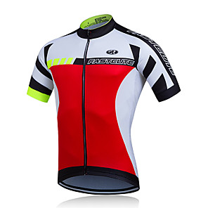 cheap Cycling Jerseys-FUALRNY® Men's Short Sleeve Cycling Jersey Red Patchwork Bike Jersey Top Mountain Bike MTB Road Bike Cycling Quick Dry Moisture Wicking Sports Clothing Apparel / Stretchy