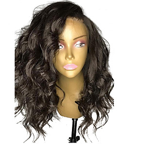 cheap Synthetic Lace Wigs-Synthetic Lace Front Wig Wavy Side Part Lace Front Wig Medium Length Black#1B Synthetic Hair 14-20 inch Women's Adjustable Heat Resistant Party Black