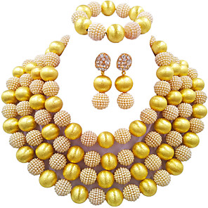 cheap Jewelry Sets-Women's Necklace Earrings Bracelet Beads Lucky Elegant Africa Imitation Pearl Earrings Jewelry Green / Dark Red / Peacock Blue For Wedding Party Gift Daily Festival 1 set