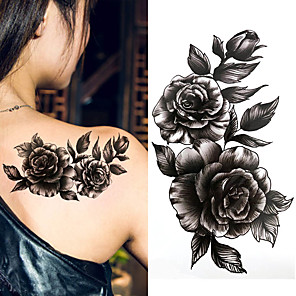 cheap Tattoo Stickers-3 pcs Black big flower Body Art Waterproof Temporary Sexy thigh tattoos rose For Woman Flash Tattoo Stickers