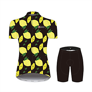 cheap Cycling Jersey & Shorts / Pants Sets-21Grams Fruit Women's Short Sleeve Cycling Jersey with Shorts - Yellow Bike Clothing Suit Breathable Moisture Wicking Quick Dry Sports 100% Polyester Mountain Bike MTB Road Bike Cycling Clothing