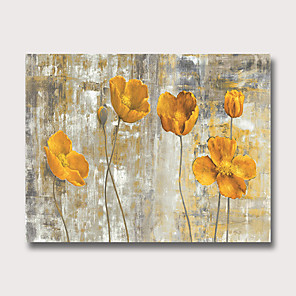 cheap Floral/Botanical Paintings-Oil Painting Hand Painted Abstract Floral / Botanical Modern Rolled Canvas Rolled Without Frame
