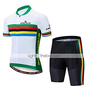 cheap Cycling Jersey & Shorts / Pants Sets-Men's Short Sleeve Cycling Jersey with Shorts Black Rainbow Bike Clothing Suit Breathable Moisture Wicking Quick Dry Anatomic Design Sports Lycra Rainbow Mountain Bike MTB Road Bike Cycling Clothing