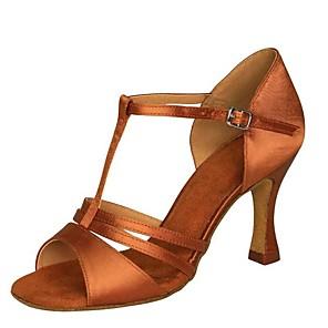 cheap Women's Boots-Women's Dance Shoes Satin / PU Latin Shoes Paillette Heel Flared Heel Customizable Brown / khaki / Dark Brown / Performance / Leather / Practice