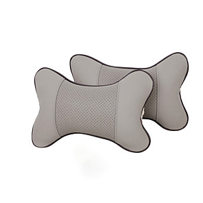 cheap Car Headrests&Waist Cushions-Car Seat PU Leather Pillow Soft Headrest Cushion Pad Memory Foam Head Neck Protector