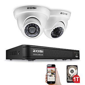 cheap DVR Kits-ZOSI 4 Channel FULL 1080P HD-TVI Recorder Case DVR Kit CCTV System with 2MP IR Filter Outdoor Nightvision 2pcs Dome Video Camera
