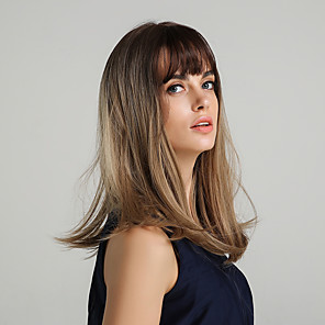 cheap Synthetic Trendy Wigs-Synthetic Wig kinky Straight Natural Straight Bob Asymmetrical Side Part Wig Black / Blonde Long Black / Red Black / Brown Synthetic Hair 20 inch Women's Life Synthetic Ombre Hair Black / Blonde HAIR